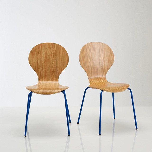 Lot de chaises plaquée chêne, JIMI LA REDOUTE : prix, avis & notation, livraison. Caractéristiques des chaises : Lot de 2 chaises empilables plaquées chêne.Coque en multiplis d'hévéa cintrée et replaquée chêne, vernis polyuréthane.Pieds en tube d'acier laqué, finition époxy.Patins plastiques. Dimensions des chaises :Totales :Longueur : 55 cmHauteur : 86 cmLargeur : 46,5 cmHauteur d'assise : 45 cmDimensions et poids du colis :1 colisL715 x H295 xP465 mm, 11 kgLivraison chez vous :Votre lot…