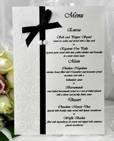 Wedding Menu Samples Invitations