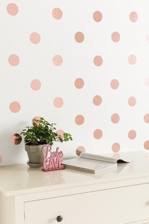 Rose Gold Confetti Dots Wall Art Gift Cl Teen Room Decor Girl
