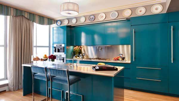 Мебель для кухни в голубых тонах - 1