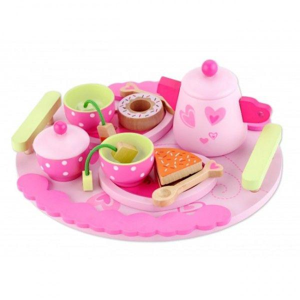 Bellissimo servizio da the con un vassoio, la teiera, la zuccheriera, una torta e una ciambella, due tazze da thè con piattino, due cucchiaini, e perfino le zollette di zucchero.