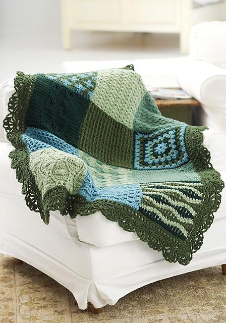 Free pattern crochet sampler afghan. I made this, acutally made it bigger by adding more squares. Great winter project. They have a knit version, too - from red heart and knitting daily, too