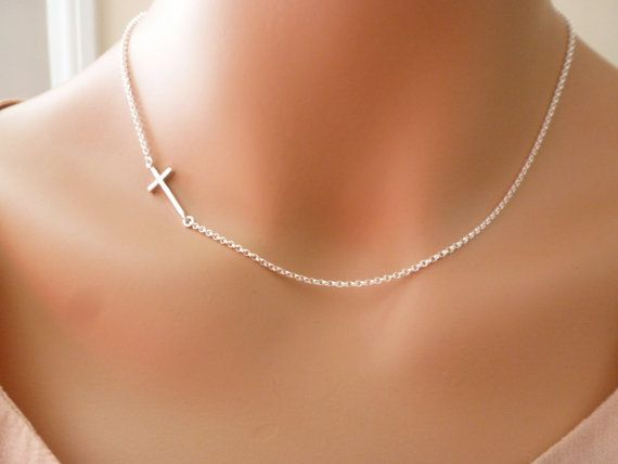 Silver Sideways Cross Necklace  side cross by MyTinyStarShining, $24.00