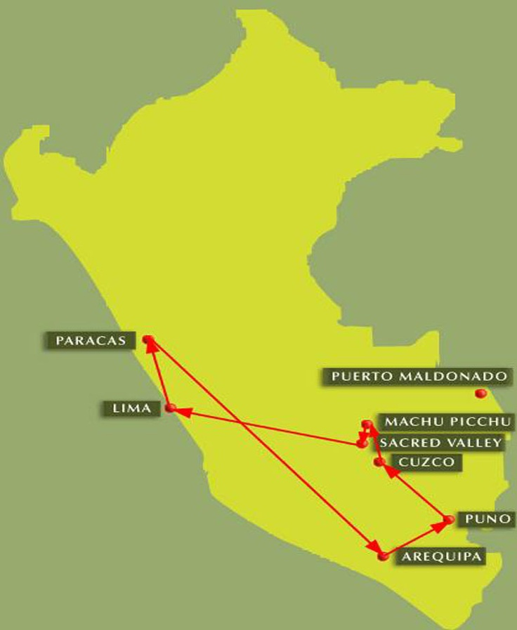 Map for Itinerary: Peruvian Delight