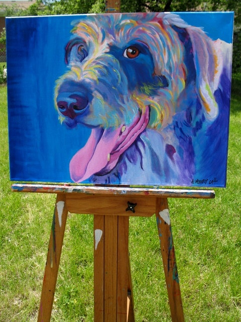Original Colorful Dog Art Painting 18x24 by Alicia VanNoy Call