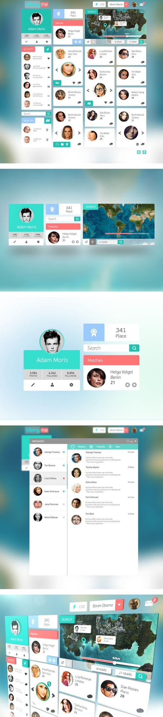 Dating platform concept by start uper, via Behance *** #web #ui #ux #behance #flatui