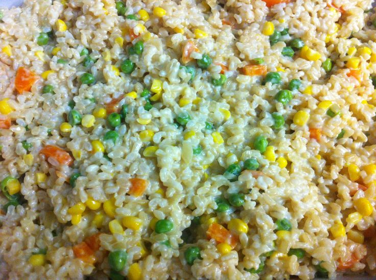 Steamed Rice with a cream and onion, corn, carrot and pea combination!