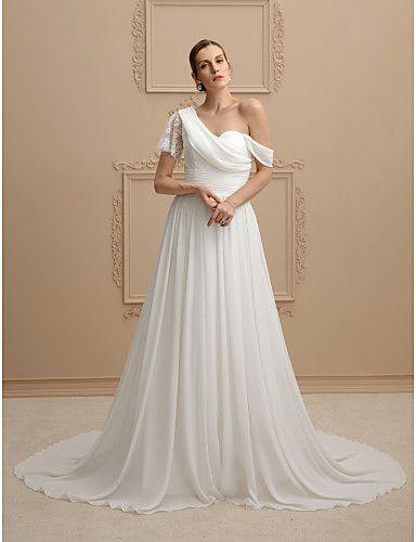 Linha A Princesa Assimétrico Cauda Corte Chiffon Renda Vestido de casamento com Caixilhos / Fitas Franzido de LAN TING BRIDE®