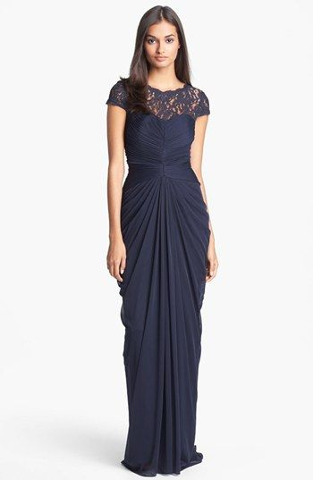 Adrianna Papell Lace Yoke Drape Gown (Regular Petite) available at #Nordstrom