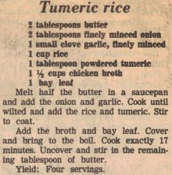 Turmeric Rice....add thyme when adding bay leaf....deboned rotisserie chicken and LOTS of cilantro (maybe lime juice?) after finished cooking...