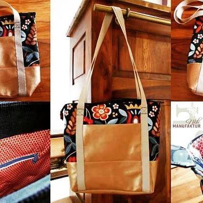 @kreativlaborberlin #svea #handtasche #nähen #kunstleder #gold von @wmstoffe #blumenstoff von #ikea bald gibt es diese Tasche bei riner #nähfreundin zu #gewinnen!!!