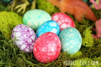 Dinosaur Eggs:  boil eggs, cool, crack, dunk in food coloring and water, leave over night in fridge, peel and enjoy!