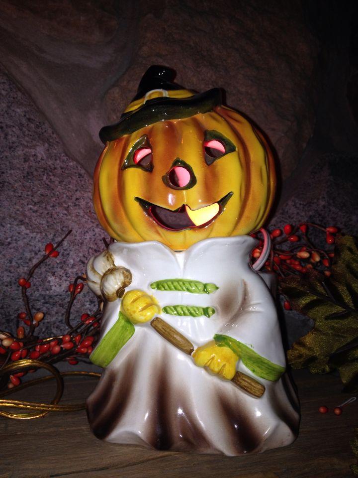 ceramic lighted pumpkin vintage halloween decoration - Ceramic Halloween Decorations