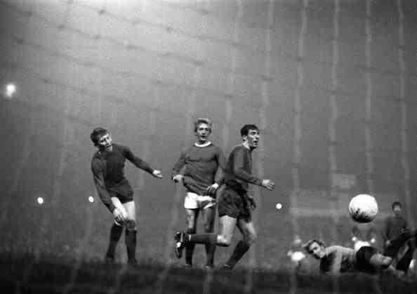 Man Utd 7 Waterford 1 (10-2 agg) in Oct 1968 at Old Trafford. Denis Law scores 1 of his 4 goals against the Irish in the European Cup 1st Round, 2nd Leg.