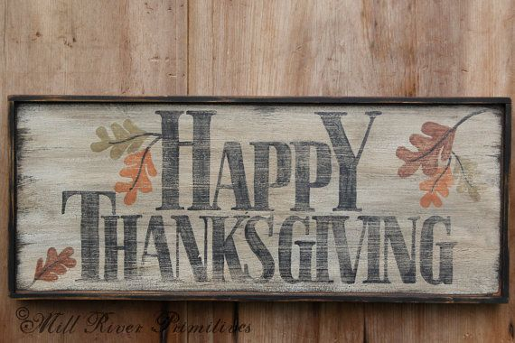 Here is a great antique looking Happy Thanksgiving sign that I will paint for you. The sign is painted in layers of brown, black and white with a crackle finish that I then sanded and aged for an old early look. The sign is meant to be used indoors. IF USING THIS SIGN OUTDOORS YOU WILL NEED TO SEAL IT with a waterproofing finish to protect the paint. The sign measures 10 x 24 and has 2 saw tooth hangers on the back. Each sign is unique and the wood has different character but will look…