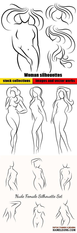 Стройные женские силуэты - векторный клипарт   Woman silhouettes