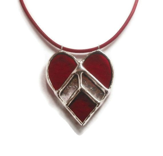 Stained Glass Jewelry Pendant  My Love Points to You by coalchild, $25.00