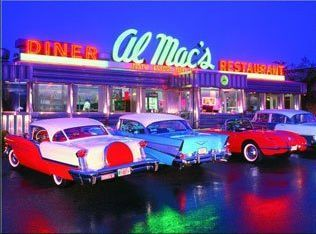 1950's diner - possible idea for a diner- could have a 50's drive in night
