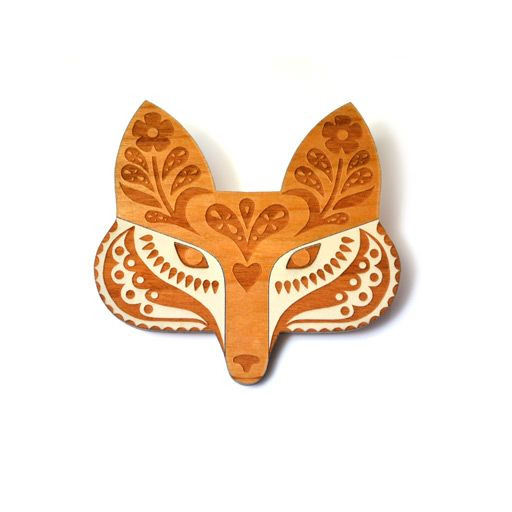 Painted Folk Fox Brooch
