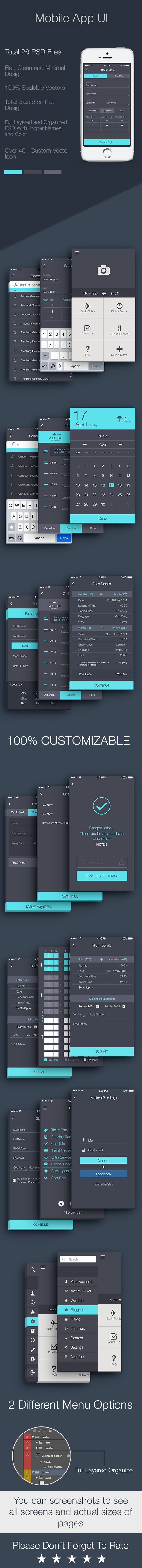 Airlines flat mobile app UI for iphone, Main features;26 PSD FilesFully Layered and Organized PSD With Proper Names and ColorEasy to edit and resize pagesClean flat design.Scalable Vectors40 plus Custom VectorsDownload here; http://graphicriver.…