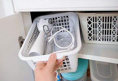 Small kitchen appliances in a basket with all their accessories!