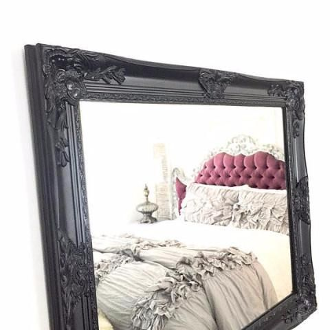 Black Shabby Chic Wall Mirror For Sale