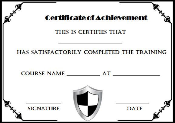 Certificate Of Completion Template Black And White  Certificate