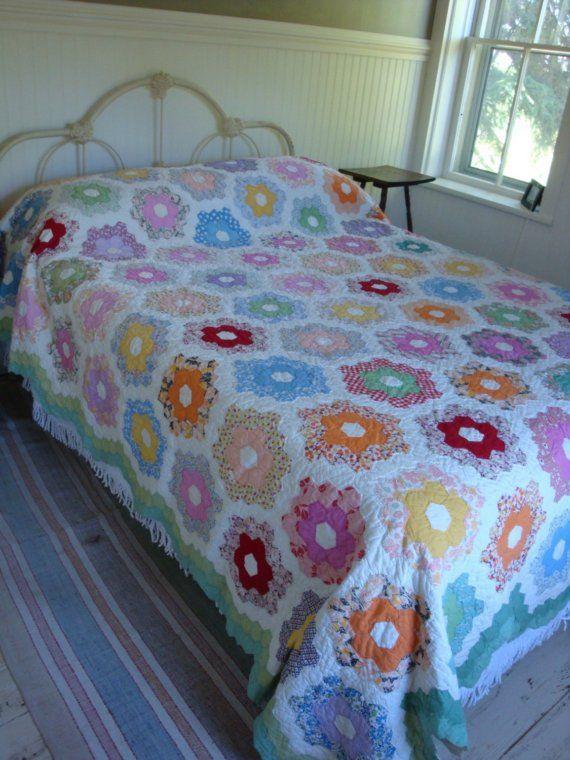 1940s grandmother's flower garden quilt.