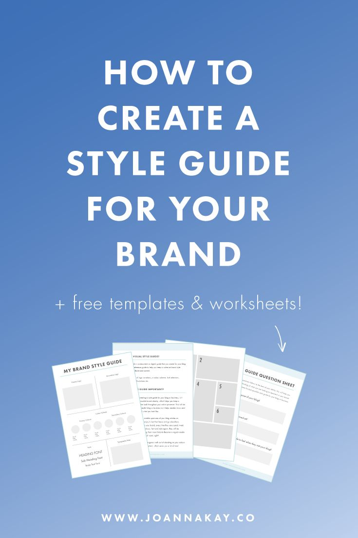 How to create a style guide for your brand. Want to learn how to create a cohesive brand style for your blog or business? Check out this post with FREE worksheets and templates to help you out!