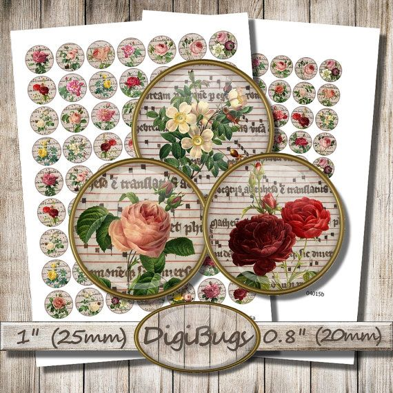 Vintage Roses, Digital Collage Sheet, 20 mm, 25 mm, 1 inch Circles, Round Jewelry Images, Old Rose Images, Codex Pages, Instant Download, d2