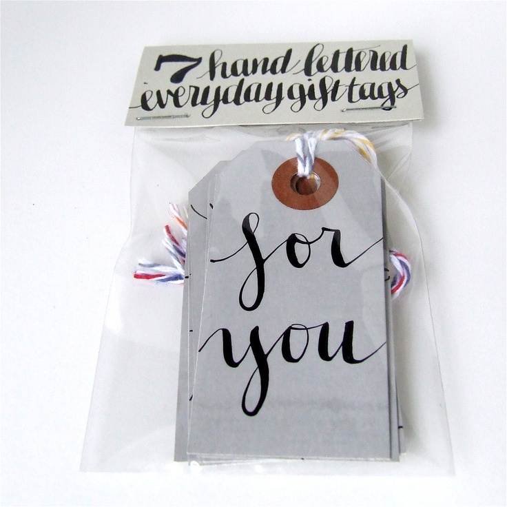 everyday gift tags, 7 small calligraphic grey parcel shipping tags by KisforCalligraphy. $8.50, via Etsy.