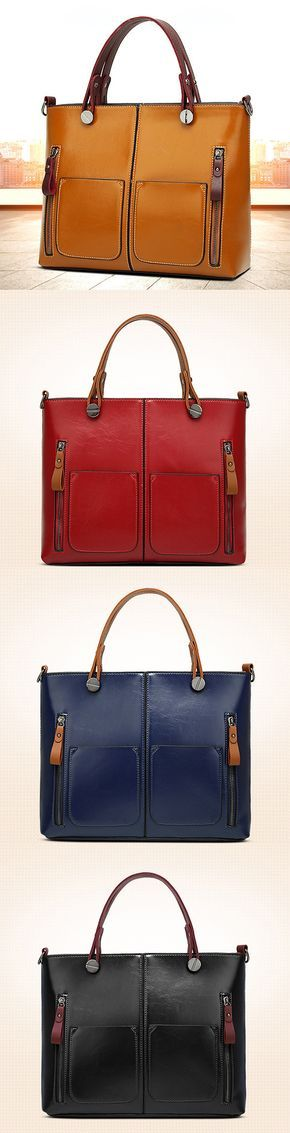 Women Leather Tote Bag: Oil Wax