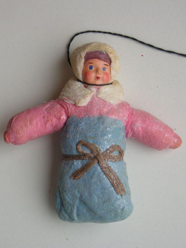 "Antique Russian Christmas Spun Cotton Ornament ""Baby"""