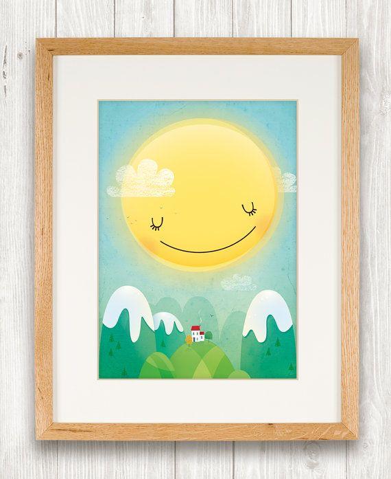 Sunshine art print nursery illustration by IreneGoughPrints