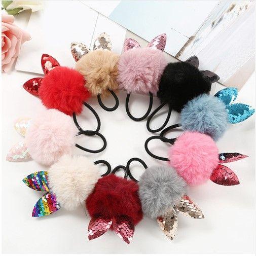 Verkauf 1 stück gefälschte kaninchenfell ball elastische haarband nette mädchen kinder katze ohr pompom haar seil haarschmuck