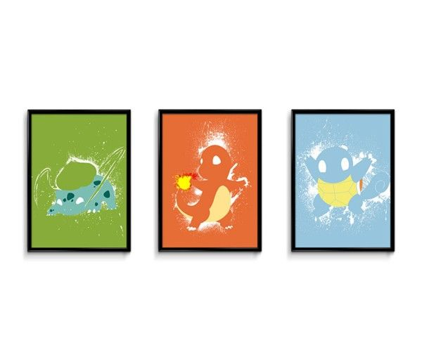 The Splatter Pokemon Poster Set Shows Three Famous Pocket Monsters Art Prints Pinterest