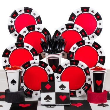 Casino Party Deluxe Tableware Kit Serves 8