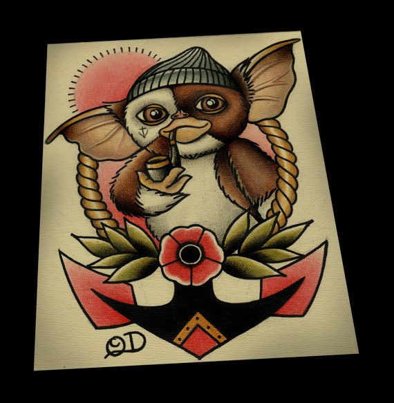 Sailor Gizmo Tattoo Flash 11 x 14 par ParlorTattooPrints sur Etsy