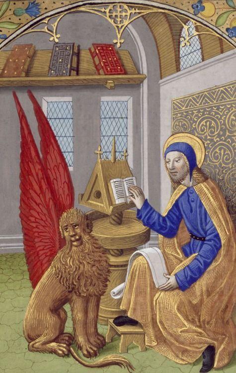 Biblioteca Digital Hispánica, VITR/24/1, detail of f. 10r (St Mark and his winged lion). Libro de horas de Carlos VIII, Rey de Francia. 15th century.