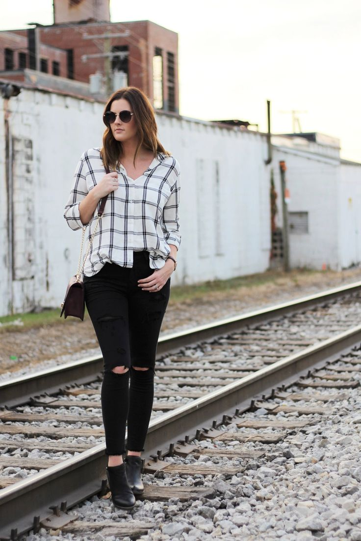 Fall Staples - Fall fashion - plaid shirt- black skinny jeans- ankle boots- fall style