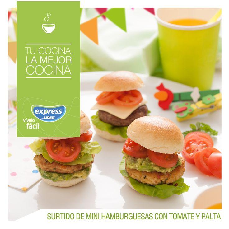 Surtido de mini hamburguesas con tomate y palta. #Recetario #Receta #RecetarioExpress #Lider #Food #Foodporn