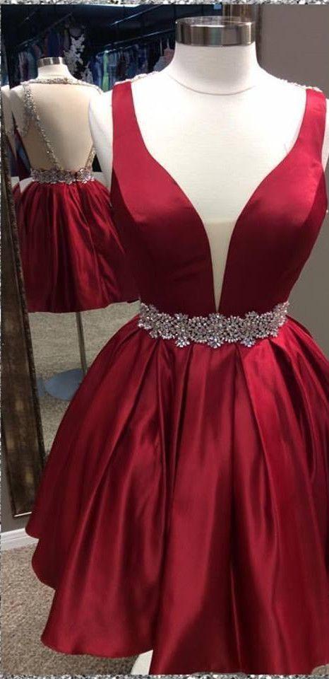 Charming Prom Dress,Satin Homecoming Dress,V-Neck Graduation Dress,Beading Prom