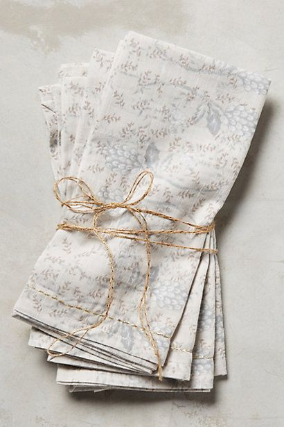 Anthropologie EU Scripted Flora Napkin Set
