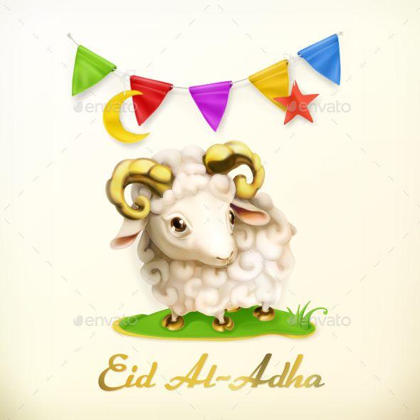 Muslim Holiday Eid Al-Adha Greeting Card with Sheep