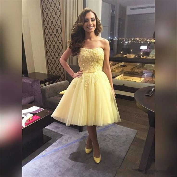 Find More Prom Dresses Information about Short Yellow Prom Dresses Knee Length 2016 Vestido Azul Elegante Strapless Graduation Dresses for Teens,High Quality dress disco,China dress up time prom dresses Suppliers, Cheap dresses 50s from jmrdress7 on Aliexpress.com