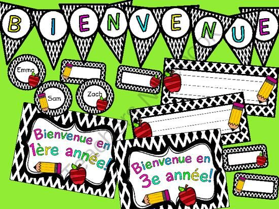 Black Diamond Class Decor! Affiches de Bienvenue pour la salle de classe from The Busy Blonde B on TeachersNotebook.com -  (17 pages)  - This is a cute set to help you decorate your French classroom for September! Welcome posters, nametags, and a banner!
