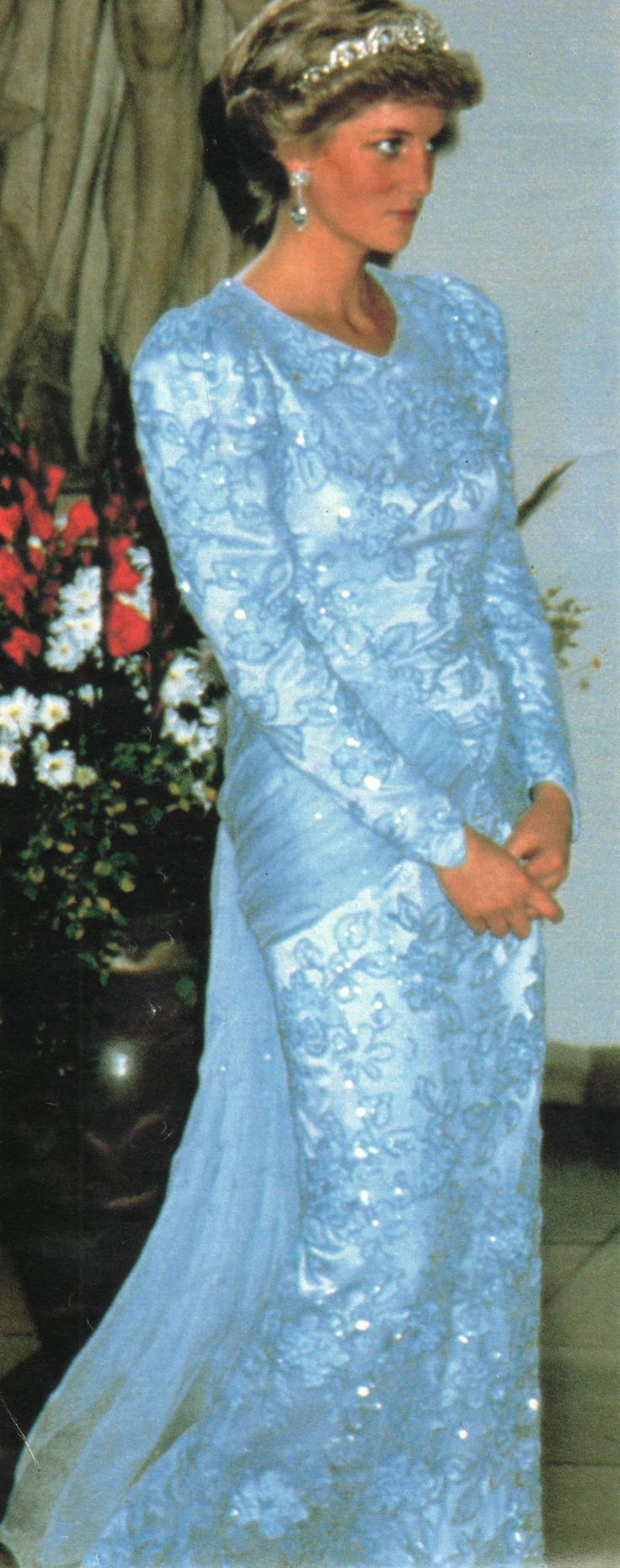 Ice-blue chiffon and lace evening dress by Catherine Walker. It was worn on 5th…