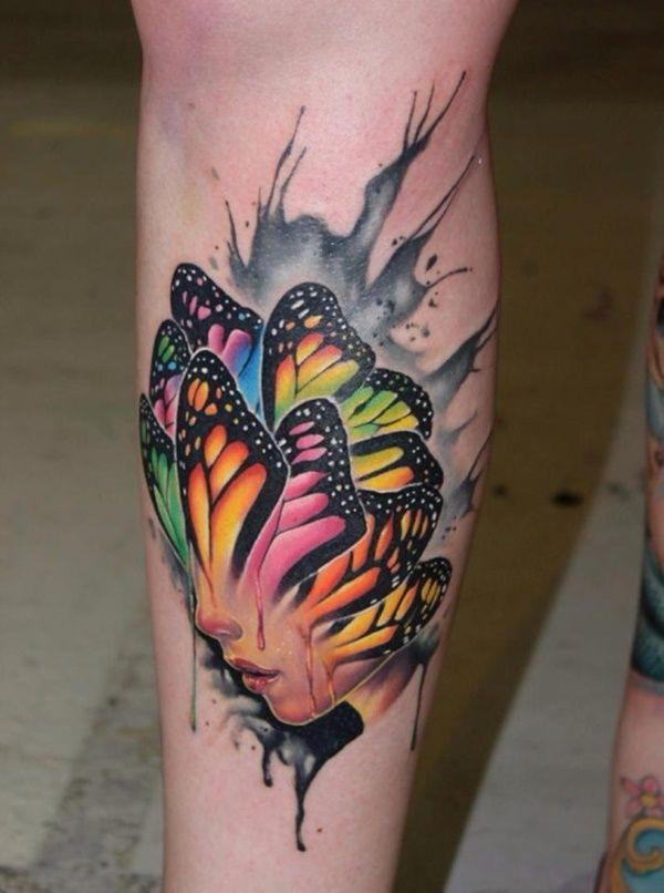 series of brightly colored butterfly wings overlap and cover a woman ...