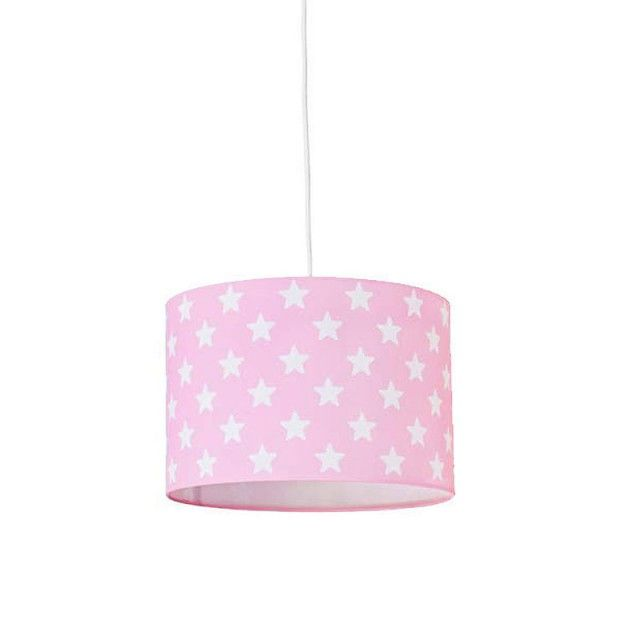 Lámpara infantil de techo cilíndrica rosa con estrellas blancas