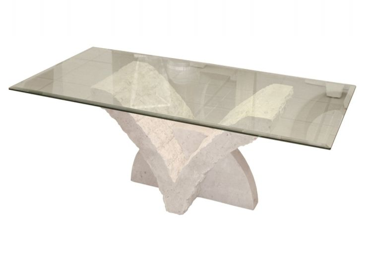 Charming Volos V Shaped Stone U0026 Tempered Glass Coffee Table